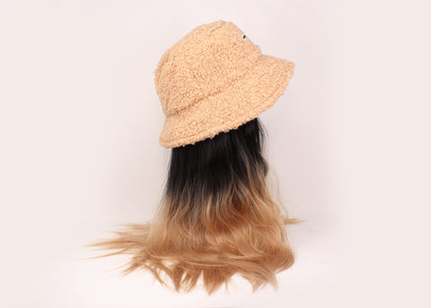 Beige Bucket Hat With Two-Tone Hair