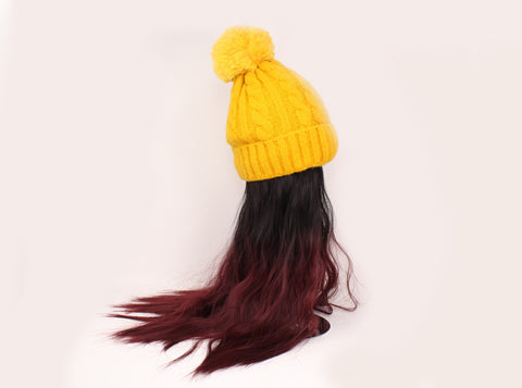 Yellow Beanie With Two-Tone Hair