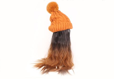 Brown Beanie With Two-Tone Hair