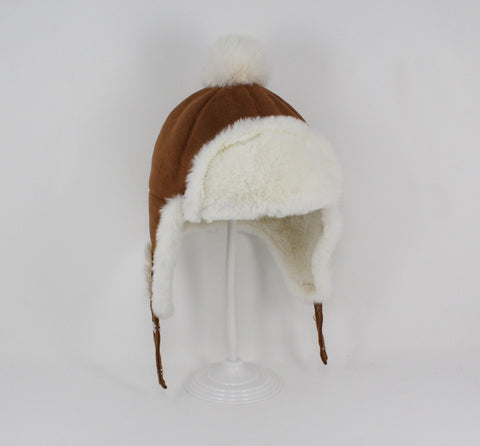Kids Brown/Cream Aviator Hat