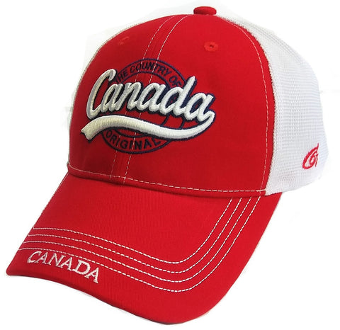 Red And White Country Of Canada Mesh Cap
