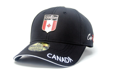 Black Canada Flag Metal Crest Cap