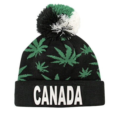 Black/Green Rubber Canada Weed Pompon Hat