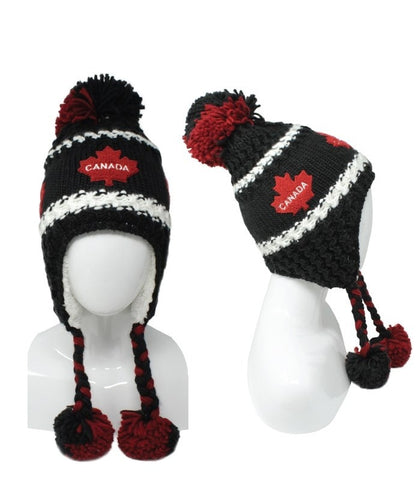 Black Red Canada Jacuard Unisex Pompon