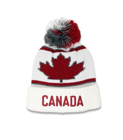 Off White/Maroon Canada Roots Unisex Beanie