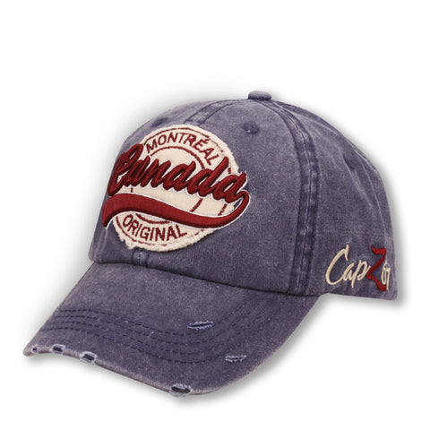 Navy Washed Stitched Montreal Cap