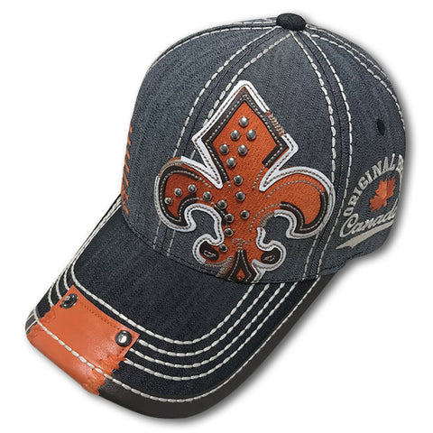 Charcoal Orange Quebec Fleur De Lys Cap