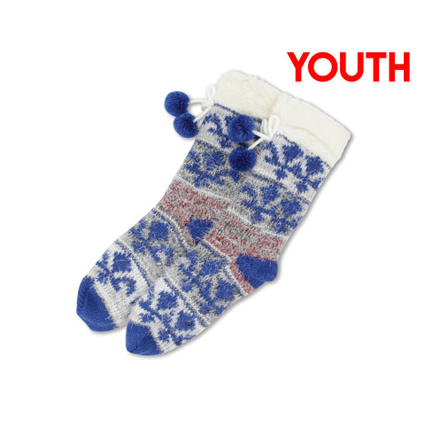 Youth Royal Blue Fuzzy Quebec Socks