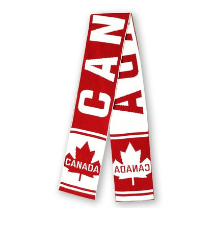 Maroon/Offwhite Canada Kids Maple Leaf Roots Scarf