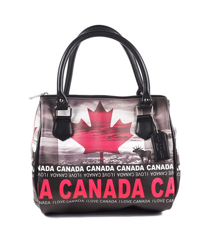 Black & Fuchsia Canada Digital Skyline Handbag
