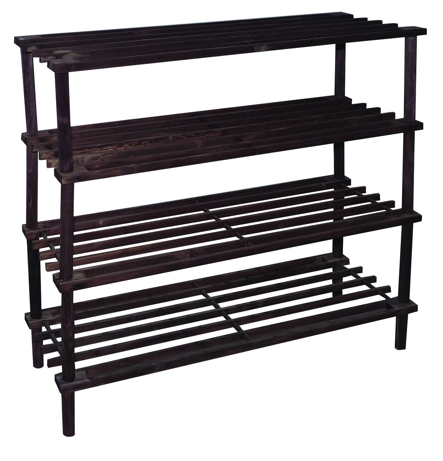 4 Tier Wooden Shoe Rack | (Dark Brown)