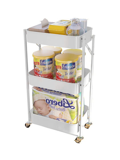 EZ Home 3 Tier Foldable Trolley White | 45 x 29.5 x 77cm