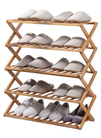 Foldable 5 Tier Bamboo Shoe Rack | 50 x 89cm