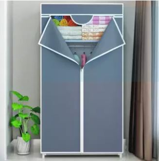 Solid cloth wardrobe grey color 60 x 45 x 150cm
