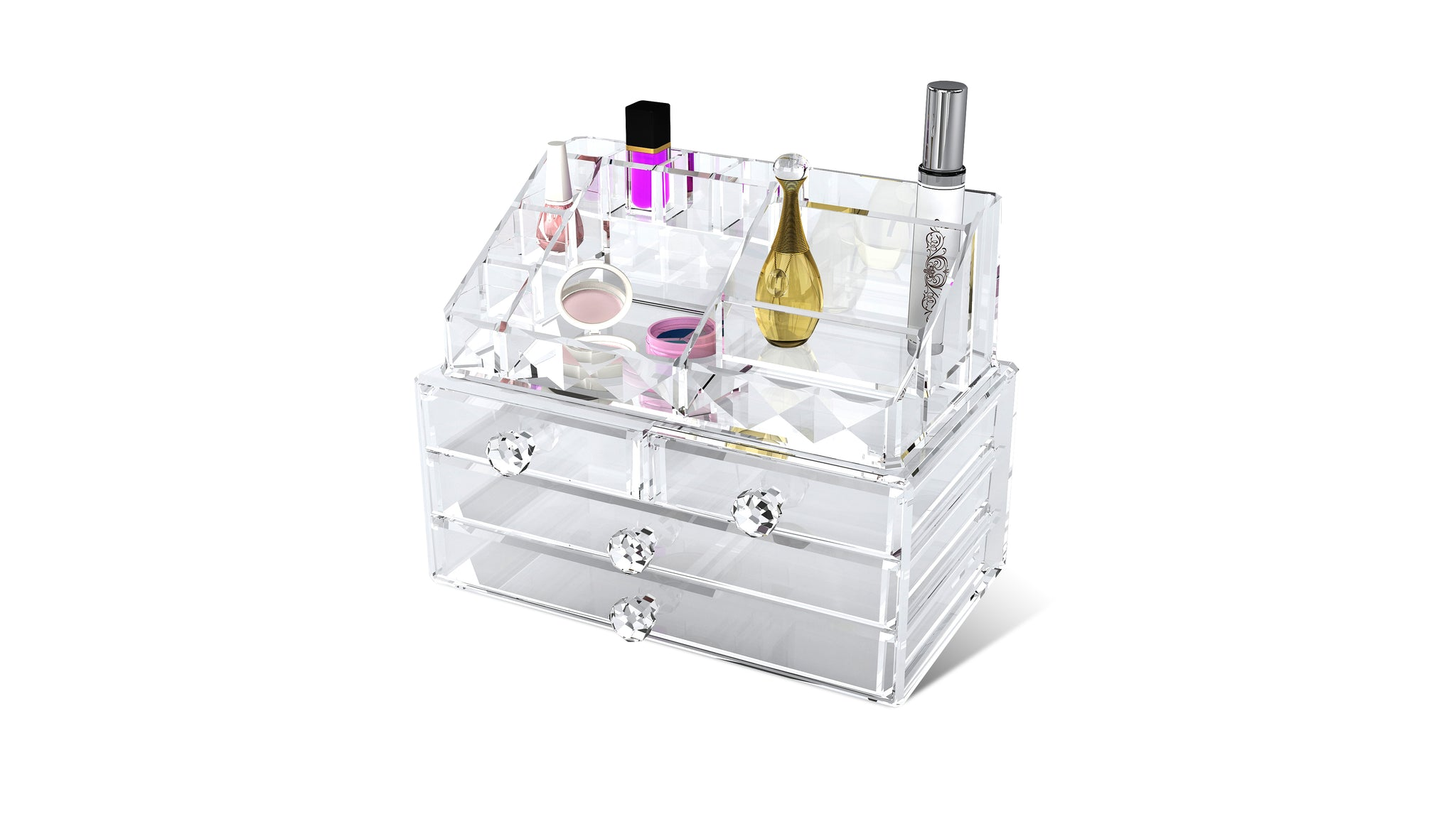 Acrylic Diamond Shape Stand With Drawer Box | 50.5 x 26.0 x42.2cm