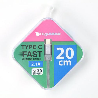Digimomo Fast Charge Cable Gy Pte Type C | 20cm DIG-TC20GY