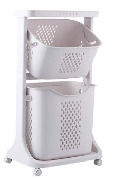 2 Layer Laundry Basket with Airhole | W44 x H78cm | Color - Greyish White
