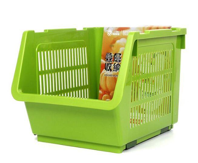 Stackable Storage Basket 35cm x 23.5cm x 20cm | A2223/ White+Green