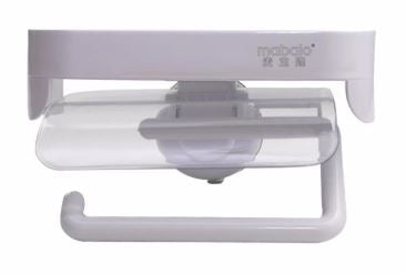Wall Suction Toilet Paper Holder With Lid & Shelf