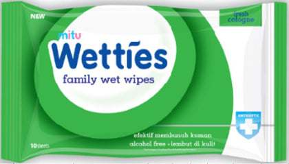 Mitu Wetties Anti-Bac Wet Wipes 10pcs Fresh Cologne