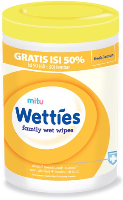 Mitu Wetties Anti-Bac Wet Wipes 90s Fresh Lemon