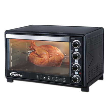 ELECTRIC OVEN 60L WITH ROTISSERIE & CONVECTION FUNCTIONS , 2 TRAYS & WIRE MESH