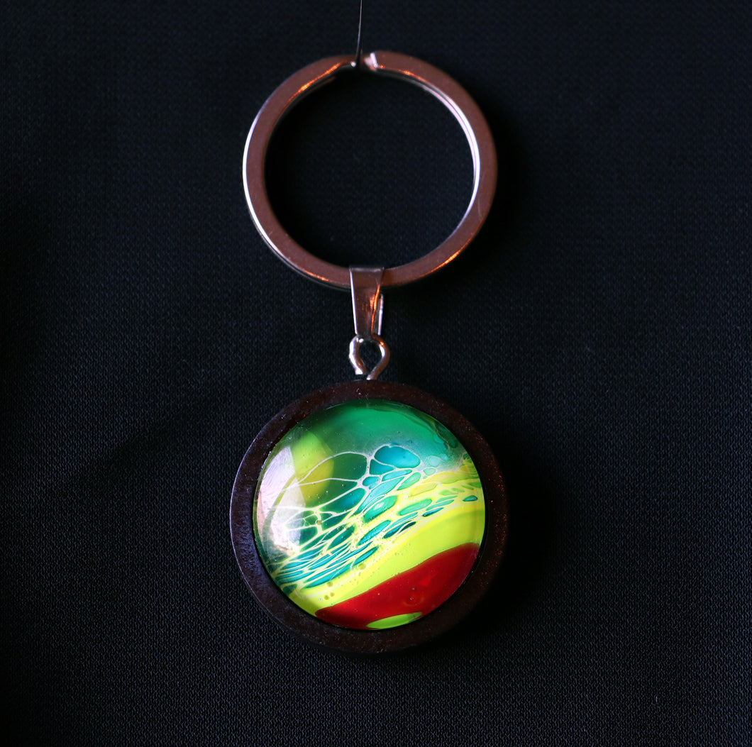 Copy of Small Natural Wood Cabochon Keychain - Red, Lime & Teal