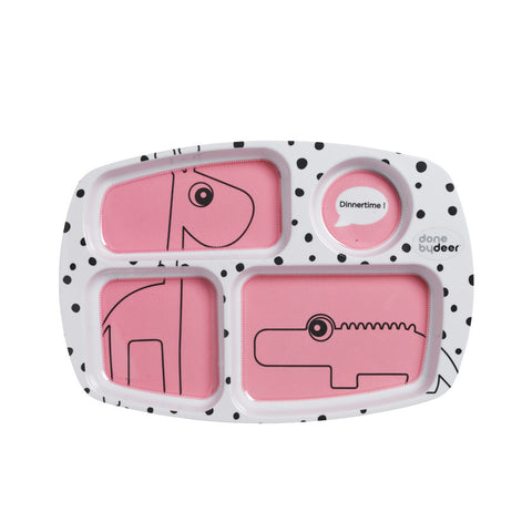 Done by Deer Happy Dots Compartment Plate Raspberry