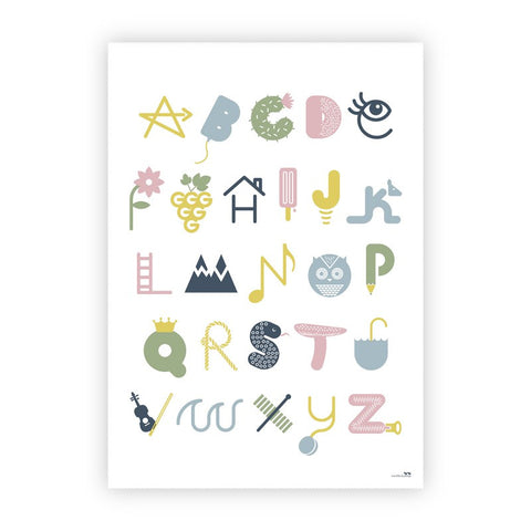 Two Little Ducklings Illustrated Alphabet Poster - Dusty
