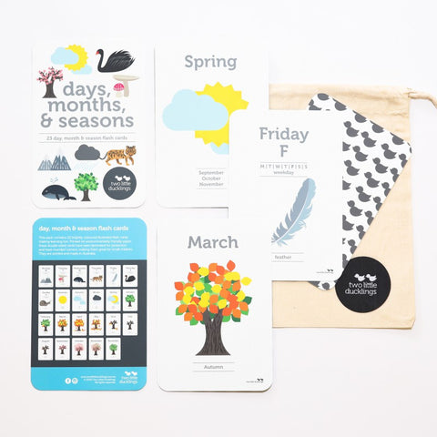 Two Little Ducklings Days Months & Seasons Flashcards
