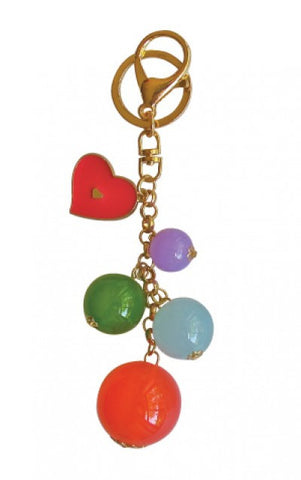 Add Hoc Bauble Keyring Hot Pink Heart