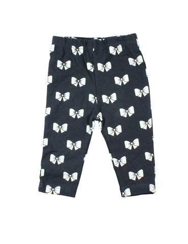 Papoose AW16 Little Girls Bow Leggings - Navy