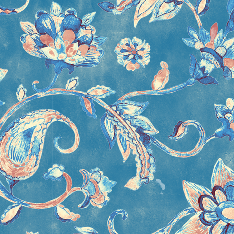 Canvas - Blue Floral (For Robot Desk Lamp)