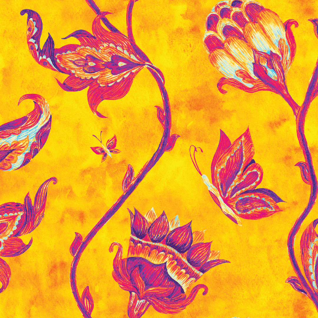 Canvas - Yellow Indian FLoral (For Robot Desk Lamp)