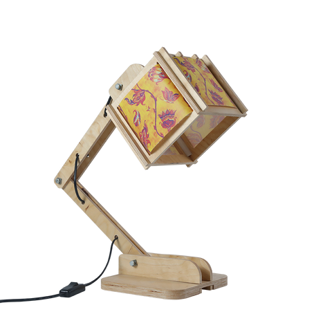 Robot Desk Lamp - Yellow Indian Floral