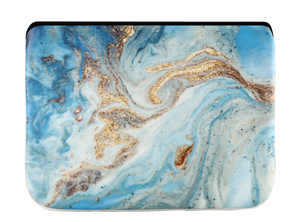 Leather Laptop Sleeve - Gold & Blue Marble