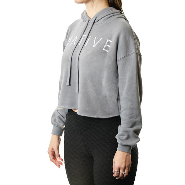 Woman's Cropped Fleece NATIVE Hoodie (Grey)