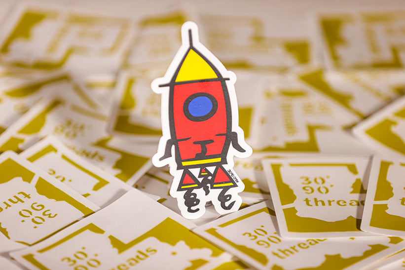 "5""T x 3""W 30*90*crew 🚀 Rocket Logo sticker"