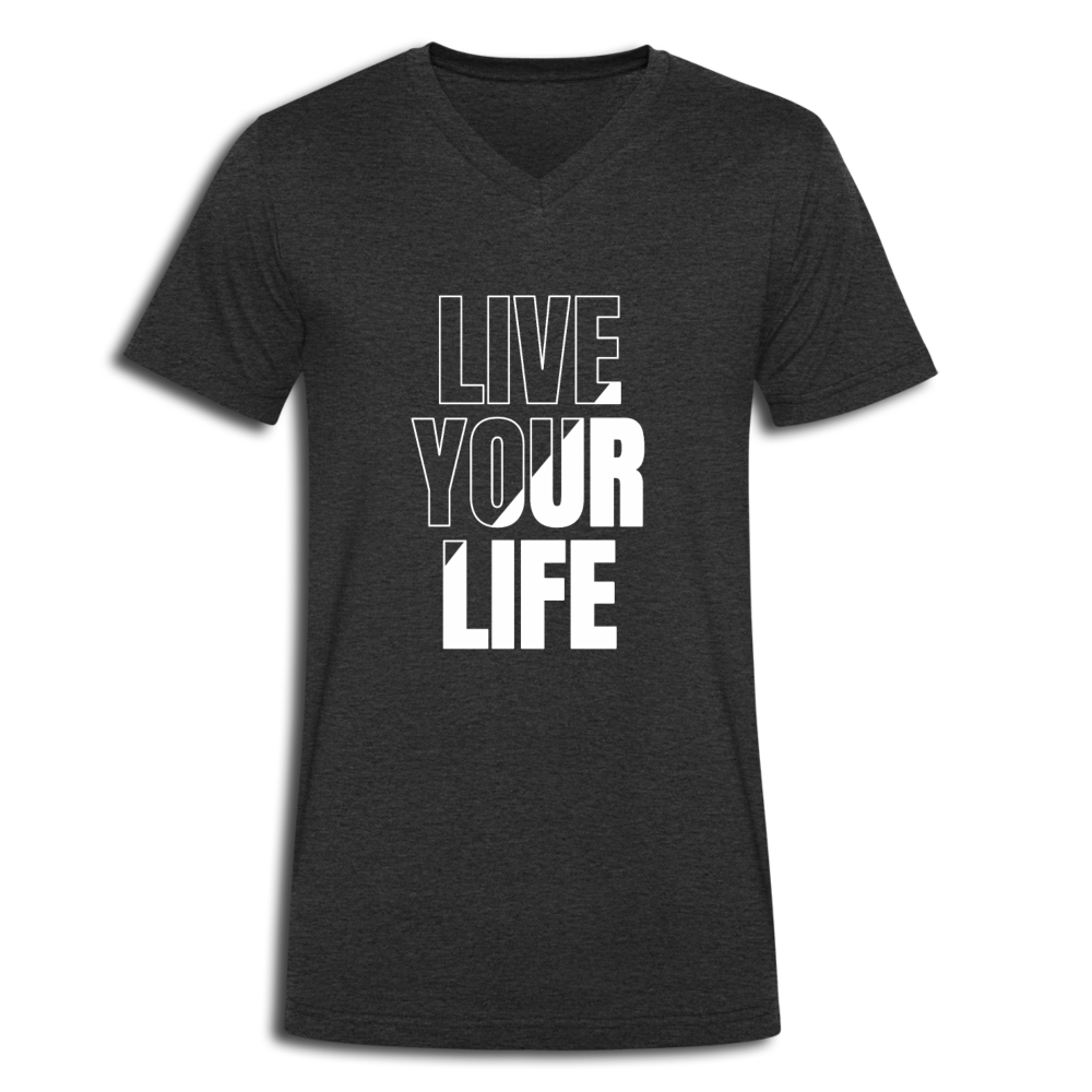 Live your Life V-Neck T-Shirt - Anthrazit