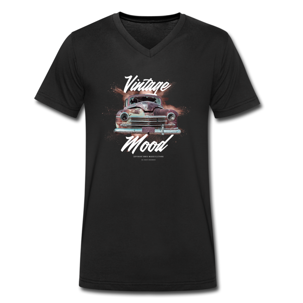 Vintage Mood V-Neck T-Shirt - Schwarz