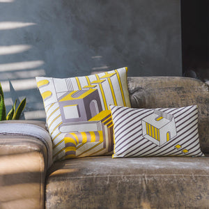 Sunrise Yellow Cushion Covers. Set of 2. 100% Cotton. Borderline PLAY