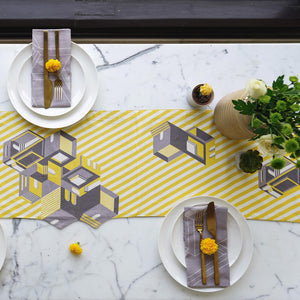 Sunrise Yellow Table Runner. 100% Cotton. Borderline PLAY
