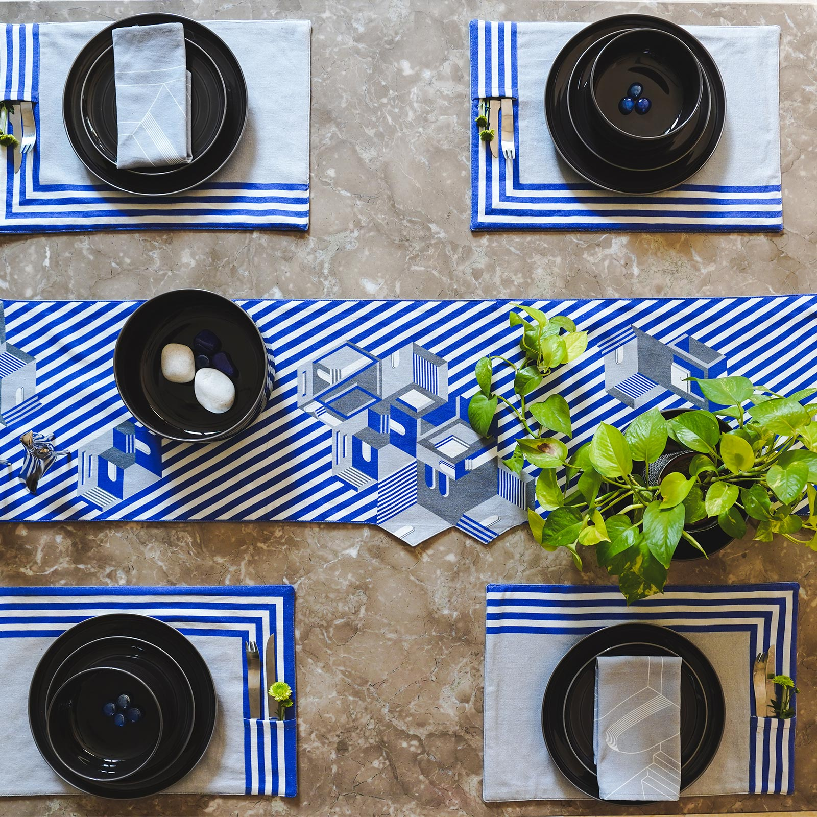 Indigo Blue Table Runner. 100% Cotton. Borderline PLAY