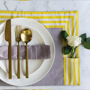 Sunrise Yellow & Taupe Table Mats & Napkins set. 100% Cotton. Borderline PLAY