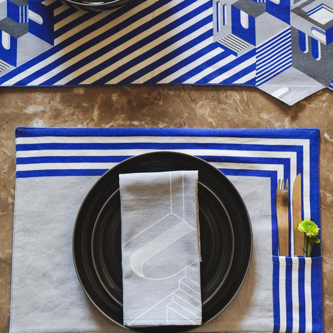 Indigo Blue & Grey Table Mats & Napkins set. 100% Cotton. Borderline PLAY