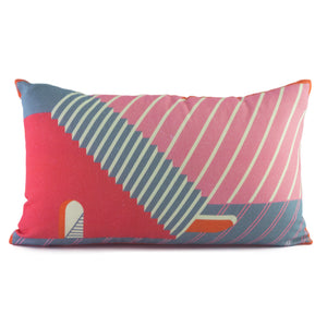 Pink Lumbar Cushion Cover Set. 100% Cotton. Borderline PLAY