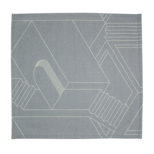 Grey Printed Napkins. Set of 4. 100% Cotton. Borderline PLAY