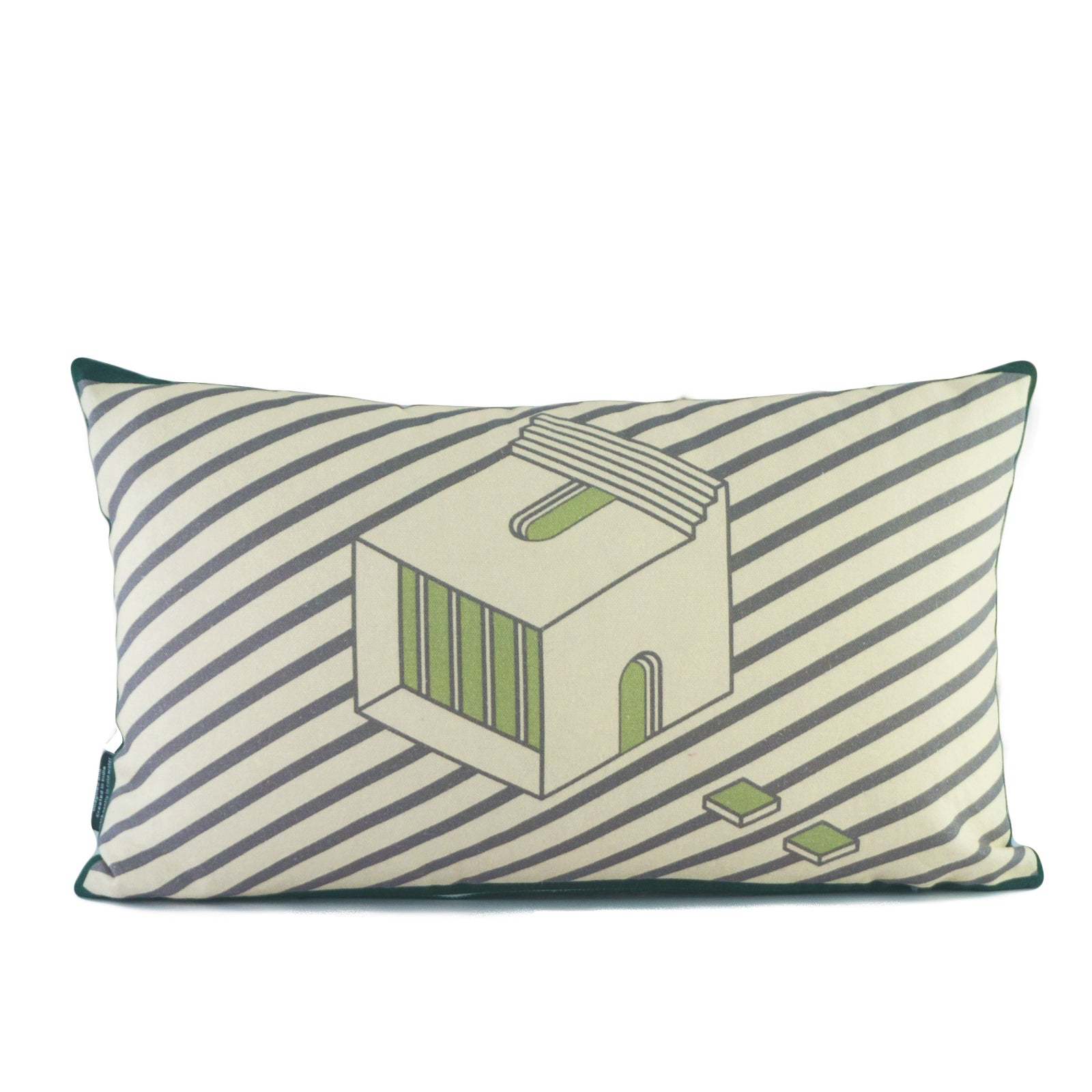 Green Lumbar Cushion Cover Set. 100% Cotton. Borderline PLAY