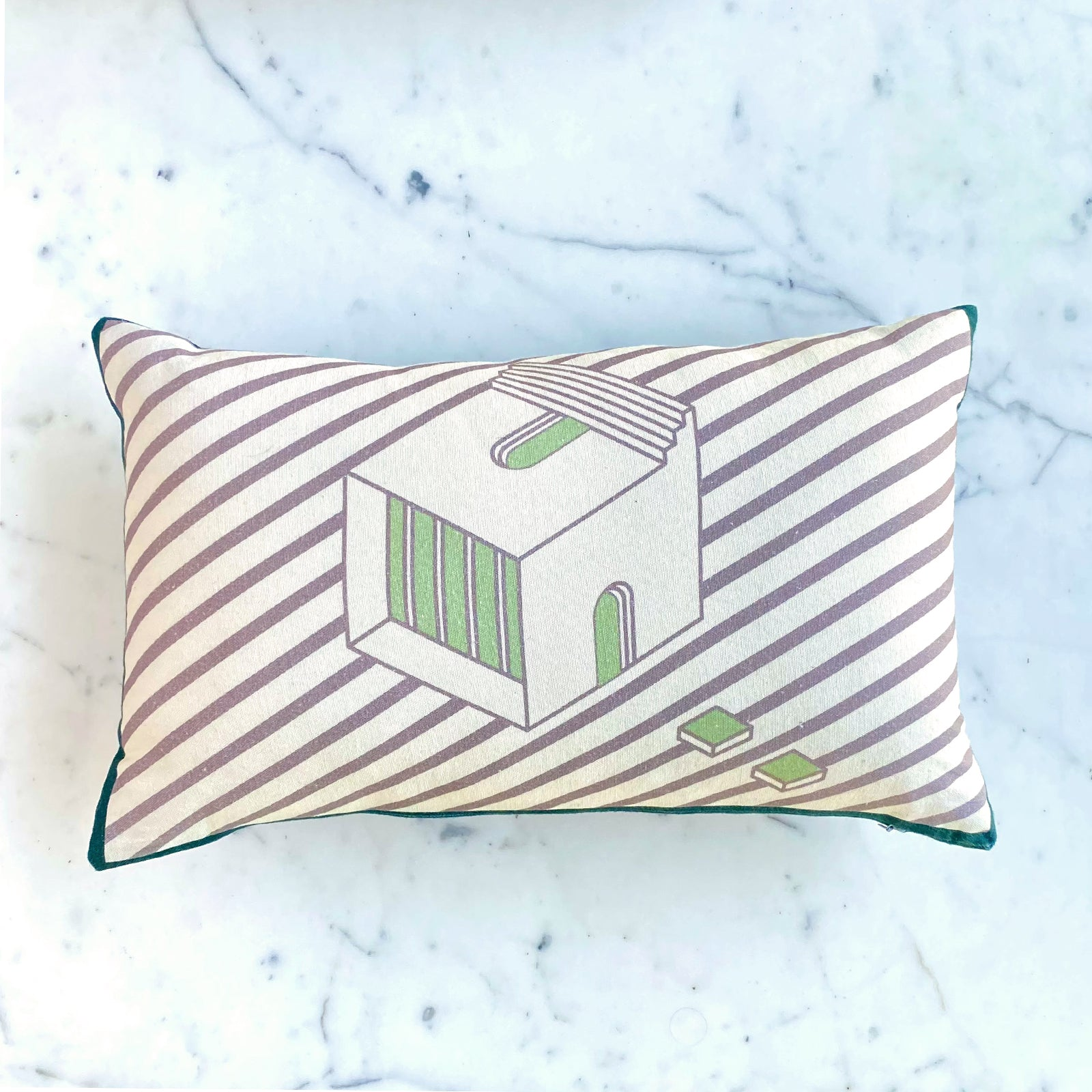 Green Lumbar Cushion Cover. 100% Cotton. Borderline PLAY