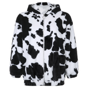 Cow imitation rabbit fur warm hooded loose coat